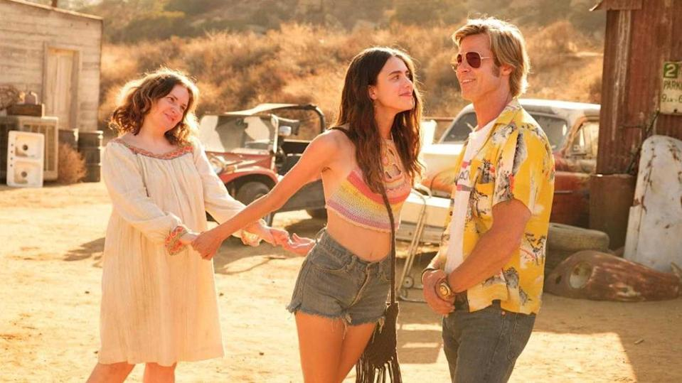 Lena Dunham, Margaret Qualley, and Brad Pitt in Once Upon A Time In Hollywood (Credit: Sony)