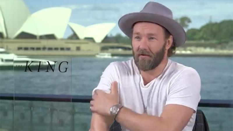 A photo of actor Joel Edgerton in an interview for The King.