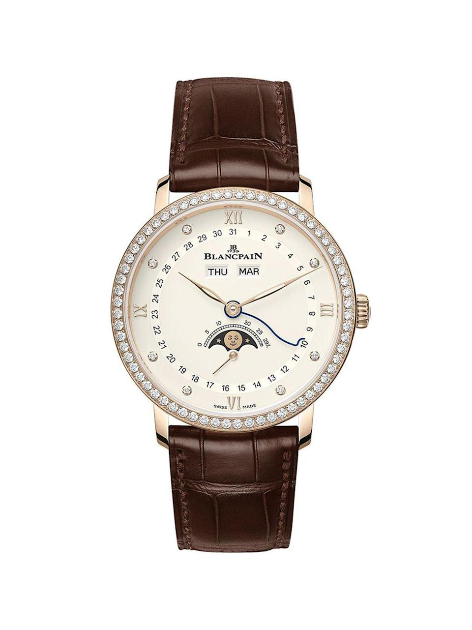 "<p><a class=""link rapid-noclick-resp"" href=""https://www.blancpain.com/en/villeret/villeret-quantieme-complet-6264-2987-55b"" rel=""nofollow noopener"" target=""_blank"" data-ylk=""slk:SHOP NOW"">SHOP NOW</a></p><p>The moon-phase dial incorporated into Blancpain's latest Villeret watch has actually been a brand speciality for four decades.</p><p>Villeret Quantième Complet watch, £22,300, <a href=""https://www.blancpain.com/en/villeret/villeret-quantieme-complet-6264-2987-55b"" rel=""nofollow noopener"" target=""_blank"" data-ylk=""slk:Blancpain"" class=""link rapid-noclick-resp"">Blancpain</a></p>"