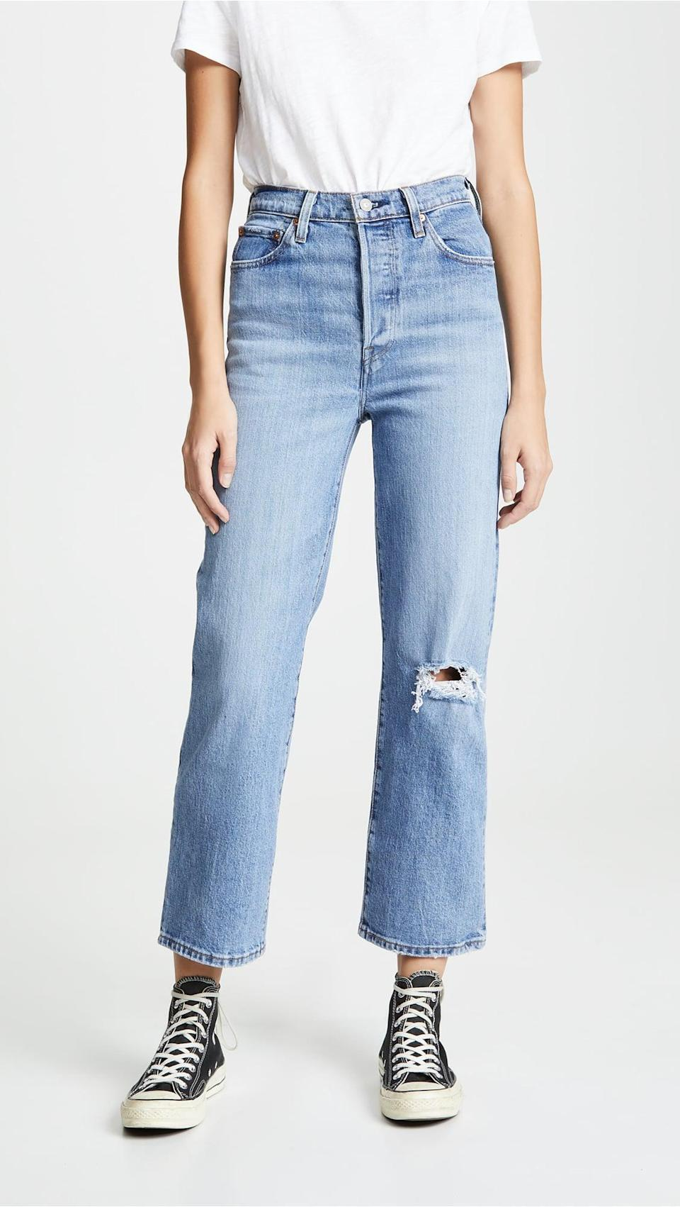 <p>Stay comfortable and look chic in these <span>Levi's Ribcage Super High Rise Jeans</span> ($98). These are fitted through the hip but relaxed in the leg.</p>
