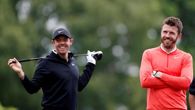 Golf - European Tour - BMW PGA Championship - Wentworth Club, Virginia Water, Britain - May 23, 2018 Northern Ireland's Rory McIlroy and Michael Carrick during the Pro-AM Action Images via Reuters/Paul Childs