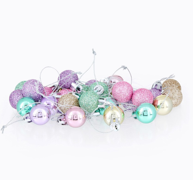 These candy-coloured Christmas Simply Magic 20mm Baubles 30 Pack from Big W look good enough to eat. Photo: Big W.