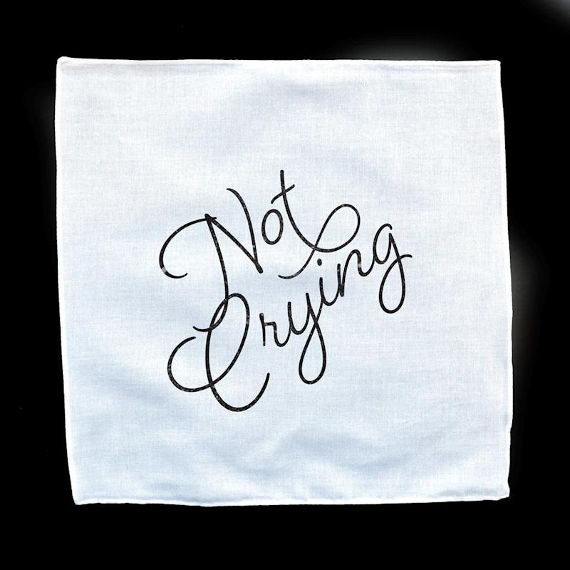 "<i>Buy it on <a href=""https://fairgoods.com/collections/wedding-handkerchiefs/products/not-crying-white-mandkerchief"" target=""_blank"">Fairgoods</a> for $10.</i>"