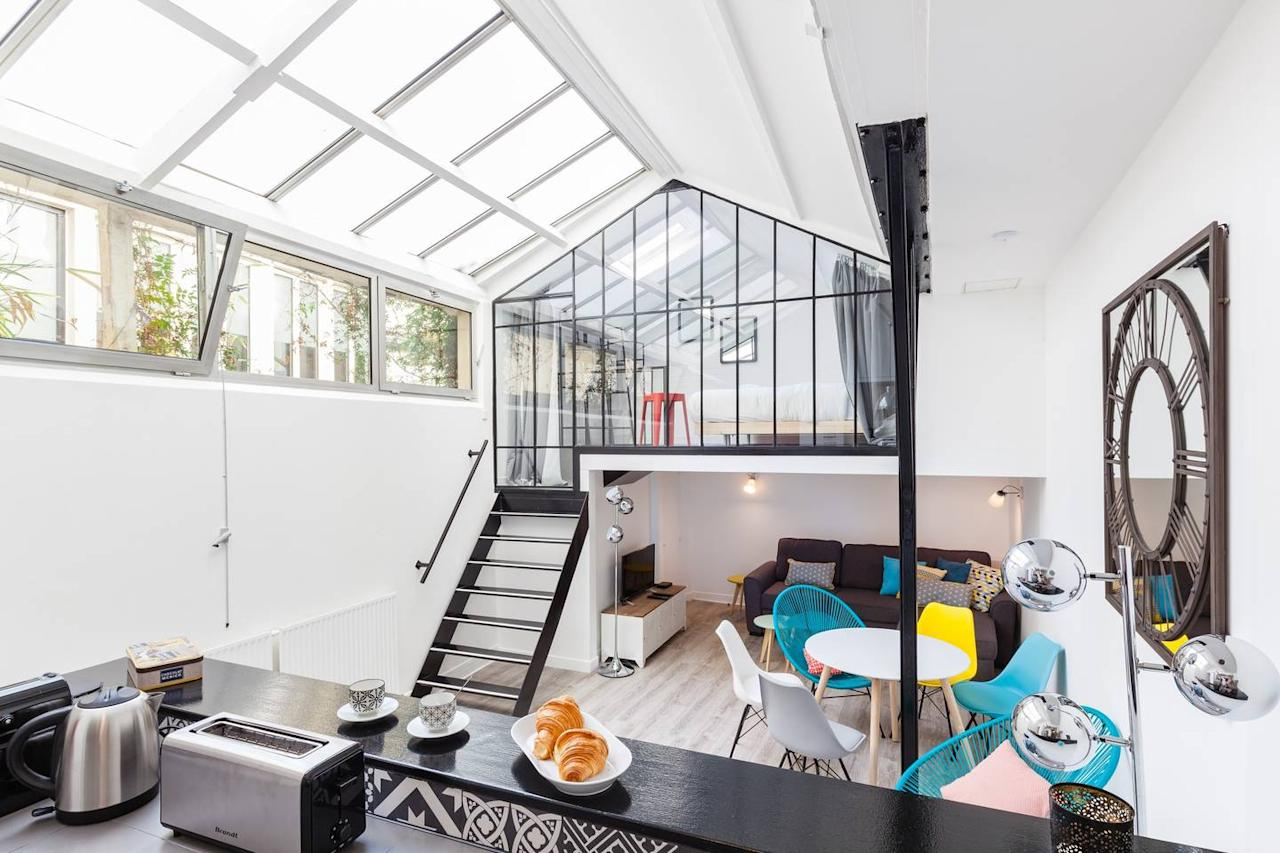 """<p>It doesn't get more family-friendly than this: This three-bedroom home has a kids' room that's ripe for playtime, with bunk beds and porthole windows, and the Airbnb hosts also offer a <a href=""""https://www.cntraveler.com/story/the-best-lightweight-travel-crib?mbid=synd_yahoo_rss"""">crib</a>, pack 'n play set, and child-sized plates and cups in the kitchen. (There's also a <a href=""""https://www.cntraveler.com/stories/2016-04-27/why-you-should-never-take-baths-at-hotels?mbid=synd_yahoo_rss"""">bathtub</a>, which makes getting the kids ready for bed even easier.) Adults will appreciate the architecture of the space, which has a glass ceiling and glass-enclosed loft bedroom that fills the home with natural light. An added bonus? The home, located in the 3rd arrondissement, is just three blocks from the nearest Metro station.</p> <p><strong>Book Now:</strong> <a href=""""https://airbnb.pvxt.net/LdXY0"""" rel=""""nofollow"""" target=""""_blank"""">From $318 per night, airbnb.com</a></p>"""