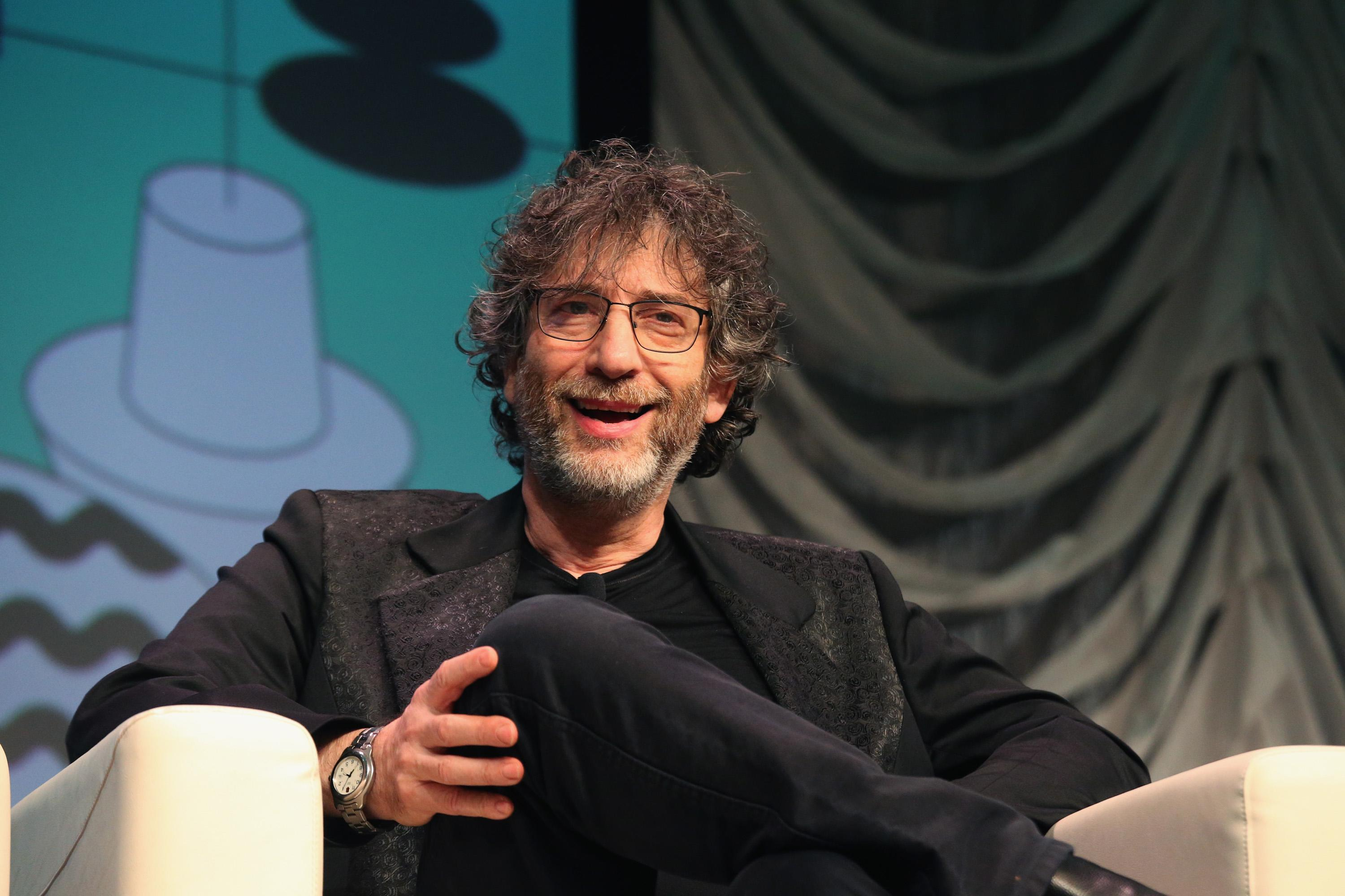"""AUSTIN, TEXAS - MARCH 09: Neil Gaiman speaks onstage at """"Featured Session: Neil Gaiman"""" at the Austin Convention Center during the SXSW Conference And Festival on March 9, 2019 in Austin, Texas. (Photo by Gary Miller/FilmMagic)"""