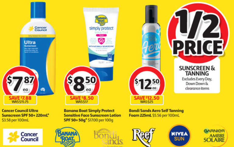Suncreen and tanning products on sale for half-price at Coles.
