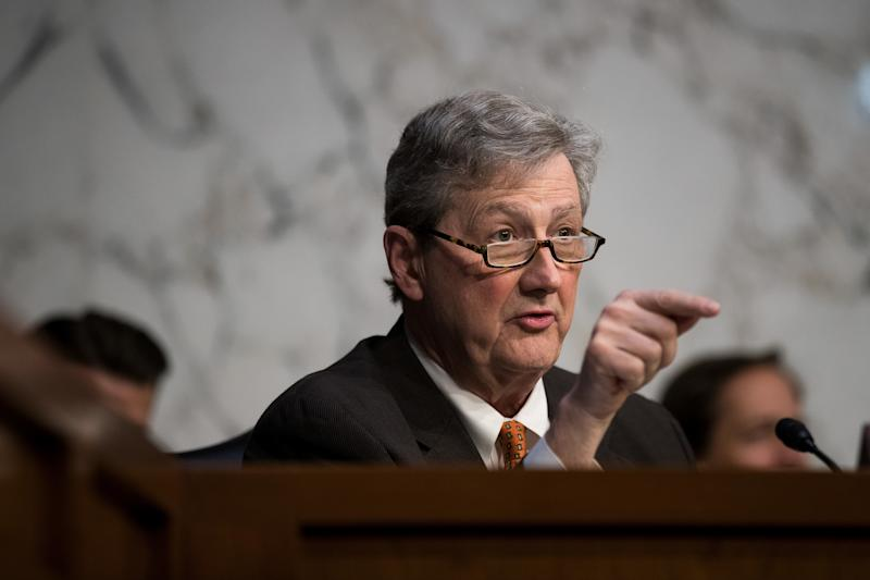 "Sen. John Kennedy (R-La.) questions Facebook, Google and Twitter representatives during a Senate Judiciary Subcommittee on Crime and Terrorism hearing titled ""Extremist Content and Russian Disinformation Online."" (Drew Angerer via Getty Images)"