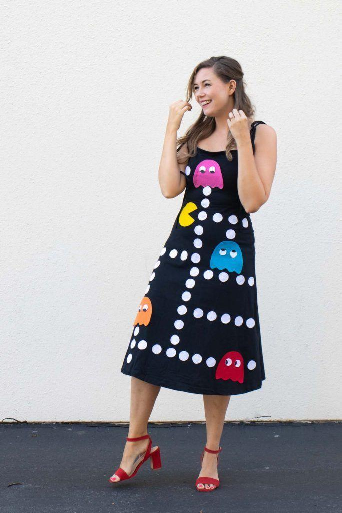 """<p>This easy no-sew tutorial shows you how to decorate a dress with classic Pac-Man shapes, including Pac-Man, the maze of dots, and the ghosts, Blinky, Pinky, Inky, and Clyde. </p><p><strong>See more at <a href=""""https://www.clubcrafted.com/no-sew-pacman-costume-halloween/"""" rel=""""nofollow noopener"""" target=""""_blank"""" data-ylk=""""slk:Club Crafted"""" class=""""link rapid-noclick-resp"""">Club Crafted</a>. </strong></p><p><a class=""""link rapid-noclick-resp"""" href=""""https://go.redirectingat.com?id=74968X1596630&url=https%3A%2F%2Fwww.walmart.com%2Fip%2FAleene-s-Permanent-Fabric-Fusion-Adhesive-4-Fl-Oz%2F17299874&sref=https%3A%2F%2Fwww.thepioneerwoman.com%2Fholidays-celebrations%2Fg32645069%2F80s-halloween-costumes%2F"""" rel=""""nofollow noopener"""" target=""""_blank"""" data-ylk=""""slk:SHOP FABRIC GLUE"""">SHOP FABRIC GLUE</a></p>"""