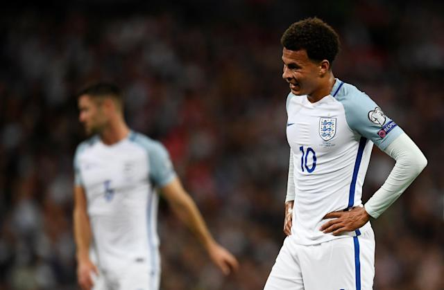 <p>Soccer Football – 2018 World Cup Qualifications – Europe – England vs Slovakia – London, Britain – September 4, 2017 England's Dele Alli looks dejected REUTERS/Dylan Martinez </p>