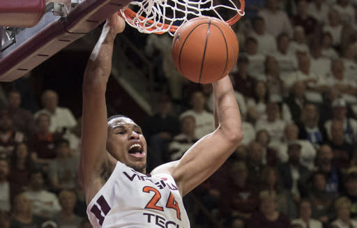 Virginia Tech forward Kerry Blackshear Jr. dunks against Duke during the second half of an NCAA college basketball game in Blacksburg, Va., Tuesday, Feb. 26, 2019. (AP Photo/Lee Luther Jr.)