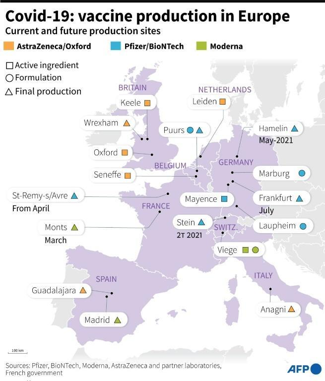 Map showing Covid-19 production sites for Pfizer/BioNTech, Moderna and AstraZeneca in Europe