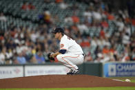 Houston Astros starting pitcher Zack Greinke waits for the next batter after giving up a home run to Arizona Diamondbacks' Pavin Smith during the third inning of a baseball game Sunday, Sept. 19, 2021, in Houston. (AP Photo/David J. Phillip)
