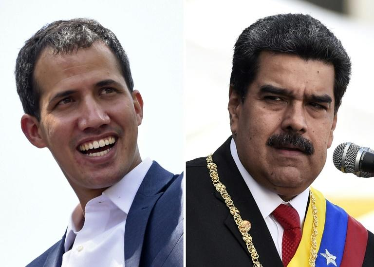 Venezuelan opposition leader Juan Guaido (left) has accused President Nicolas Maduro of having rigged the 2018 poll that saw him re-elected