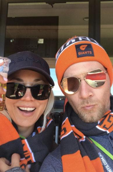 The pair enjoyed watching an AFL game, cheering on the GWS Giants.