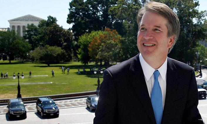 """<span class=""""element-image__caption"""">Brett Kavanaugh on Capitol Hill – with the supreme court in the background – in July.</span> <span class=""""element-image__credit"""">Photograph: Joshua Roberts/Reuters</span>"""