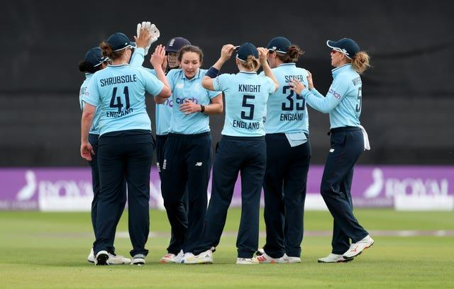 Kate Cross celebrates claimed five wickets