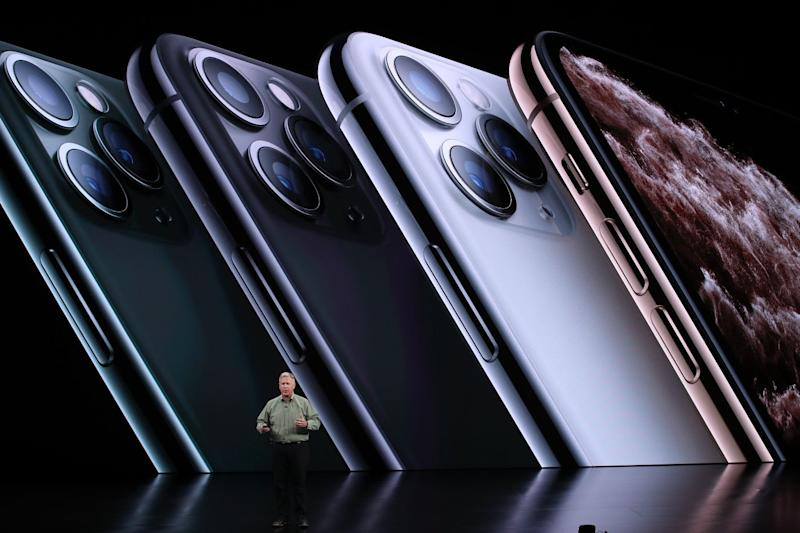 The iPhone 11 Pro in the new midnight green colour, along with space grey, silver and gold (Justin Sullivan/Getty Images)