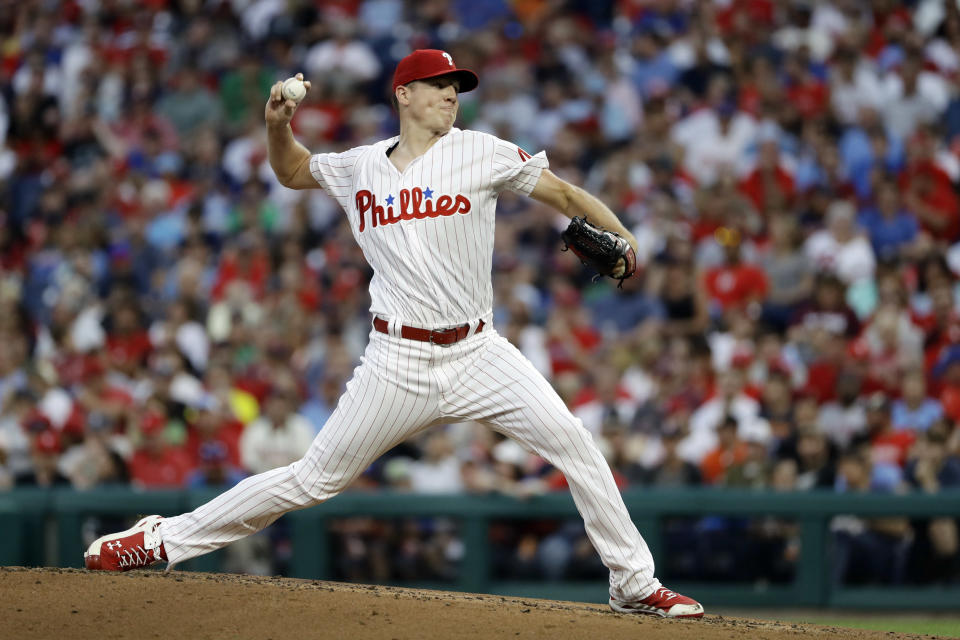 Philadelphia Phillies' Nick Pivetta pitches during the third inning of a baseball game against the Boston Red Sox, Tuesday, Aug. 14, 2018, in Philadelphia. (AP Photo/Matt Slocum)