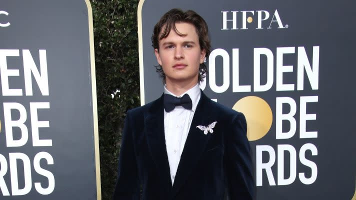 We Totally Missed Ansel Elgort's Perfect Shimmery Eyeshadow at the Golden Globes