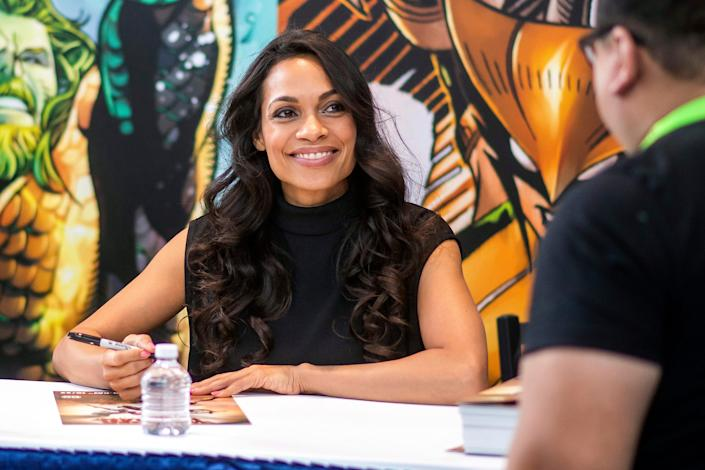 Rosario Dawson signs autographs during New York Comic Con at the Jacob K. Javits Convention Center on Oct. 4, 2019, in New York.