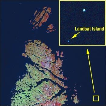 Landsat 7 image taken on Aug. 7, 2002, of the far northern portion of Labrador, revealing Landsat Island.