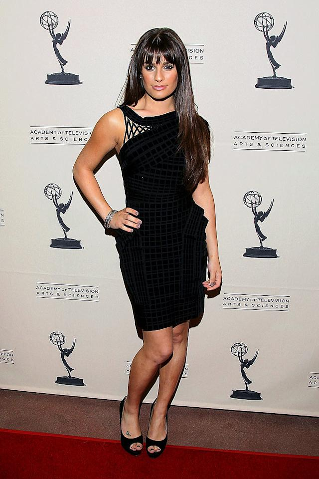 """Back in LA, Lea Michele popped a pose in a sexy one-shoulder Herve Leger by Max Azria mini and bangin' 'do at a """"Glee"""" gala hosted by the Academy of Television Arts & Sciences. Mathew Imaging/<a href=""""http://www.wireimage.com"""" target=""""new"""">WireImage.com</a> - April 26, 2010"""