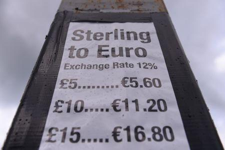 FILE PHOTO: A Sterling to Euro exchange rate sign is seen at Fitzpatrick's Fuels and Hardware station, which straddles the border between Ireland and Northern Ireland, October 17, 2016. REUTERS/Clodagh Kilcoyne/File Photo