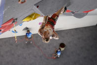 Jakob Schubert, of Austria, competes during the lead portion of the men's sport climbing final at the 2020 Summer Olympics, Thursday, Aug. 5, 2021, in Tokyo, Japan. (AP Photo/Jeff Roberson, POOL)