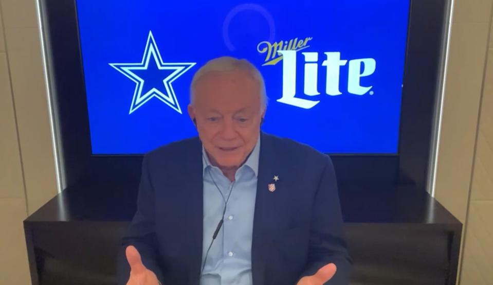 Cowboys owner and general manager Jerry Jones speaks via teleconference during the first round of the 2020 NFL draft from his super-yacht. (Photo by Getty Images)