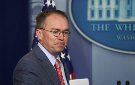 Acting White House Chief of Staff Mulvaney arrives to answer questions at media briefing at the White House in Washington