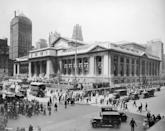 <p>The intersection of 42nd Street and Fifth Avenue at the foot of the New York Public Library. </p>