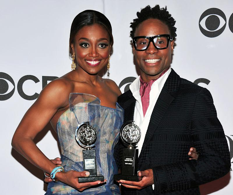 FILE - This June 9, 2013 file photo shows Patina Miller, left, and Billy Porter posing with their awards in the press room at the 67th Annual Tony Awards, in New York.  Six alumni from Carnegie Mellon University took home Tonys in five categories, a glittery haul that was both a school record and a huge source of pride for a theater department that turns 100 next year. Billy Porter, Patina Miller and Judith Light each took home acting Tonys, while Ann Roth got one for best costume design, and partners Jules Fisher and Peggy Eisenhauer won for best lighting design of a play.  (Photo by Charles Sykes/Invision/AP)