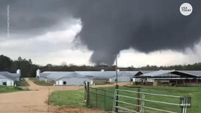A tornado touched down in Wayne County, Miss., ripping through the area and leaving damage in its wake.
