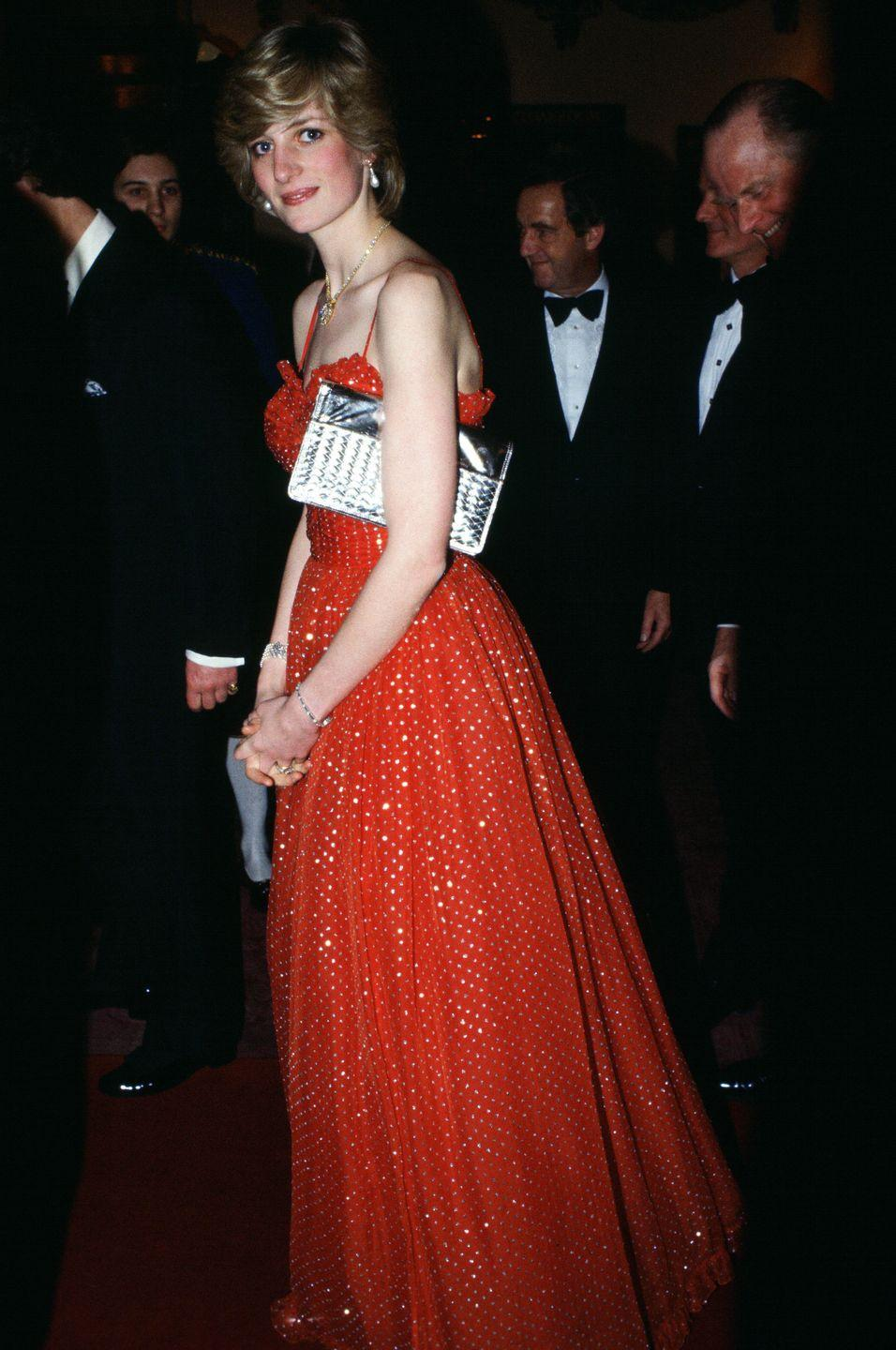 <p>In a red glittering dress while attending a ballet at the Royal Opera House in Covent Garden. </p>