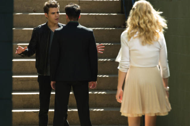 "Paul Wesley as Stefan, Michael Trevino as Tyler and Candice Accola as Caroline in ""O Come, All Ye Faithful,"" the ninth episode of ""The Vampire Diaries"" Season 4."