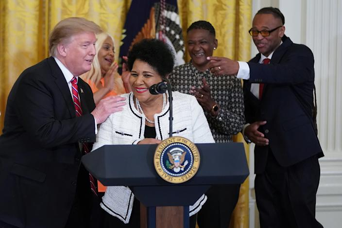 Alice Marie Johnson with Donald Trump