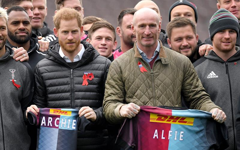 Prince Harry and Gareth Thomas attend an event ahead of National HIV Testing Week at the Twickenham Stoop - ©Karwai Tang