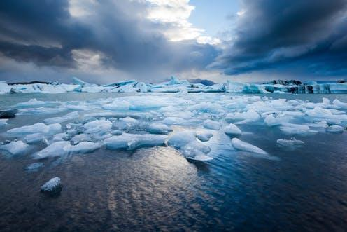 """<span class=""""caption"""">When temperatures rise and ice melts, more water flows to the seas and ocean water warms and expands in volume.</span> <span class=""""attribution""""><span class=""""source"""">Shutterstock</span></span>"""
