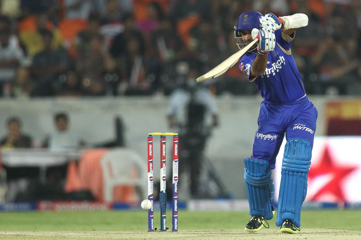 Ajinkya Rahane of Rajasthan Royals drives a delivery off the back foot during match 68 of the Pepsi Indian Premier League between The Sunrisers Hyderabad and The Rajasthan Royals held at the Rajiv Gandhi International Stadium, Hyderabad  on the 17th May 2013..Photo by Shaun Roy-IPL-SPORTZPICS ..Use of this image is subject to the terms and conditions as outlined by the BCCI. These terms can be found by following this link:..https://ec.yimg.com/ec?url=http%3a%2f%2fwww.sportzpics.co.za%2fimage%2fI0000SoRagM2cIEc&t=1506366590&sig=s.KQ1VzmpDlHSgrL9F7u0g--~D