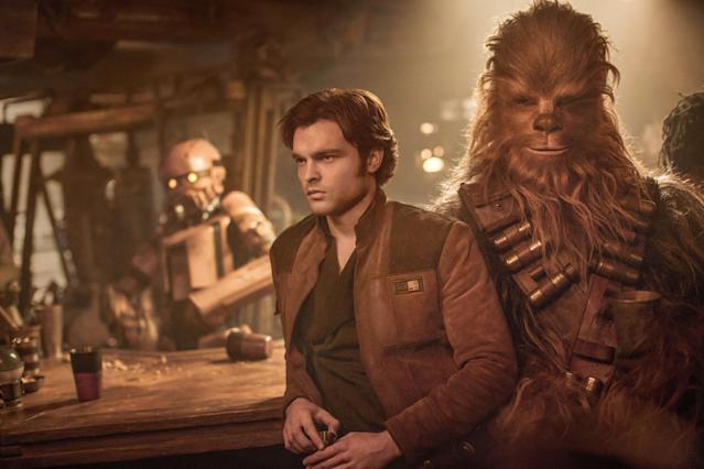 Alden Ehrenreich and Joonas Suotamo in <em>Solo: A Star Wars Story.</em> (Photo: Jonathan Olley/Lucasfilm/Walt Disney Studios Motion Pictures/Courtesy of Everett Collection)