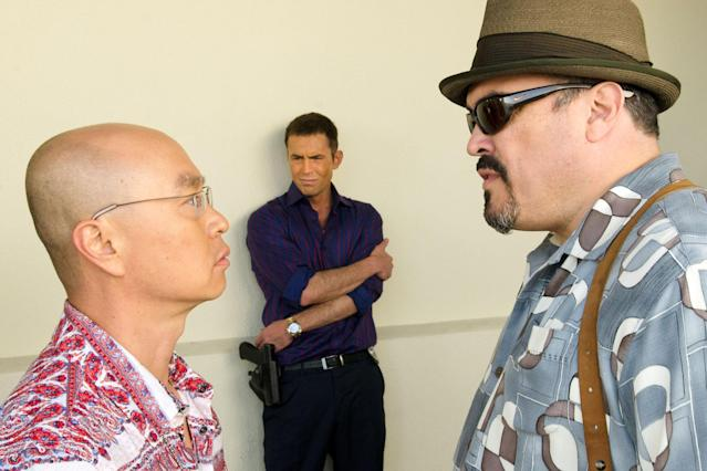 "C.S. Lee as Vince Masuka, Desmond Harrington as Joey Quinn, and David Zayas as Angel Batista in the ""Dexter"" Season 8 episode, ""A Little Reflection."""