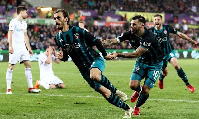 Southampton substitute Manolo Gabbiadini celebrates his vital second-half goal with Charlie Austin.
