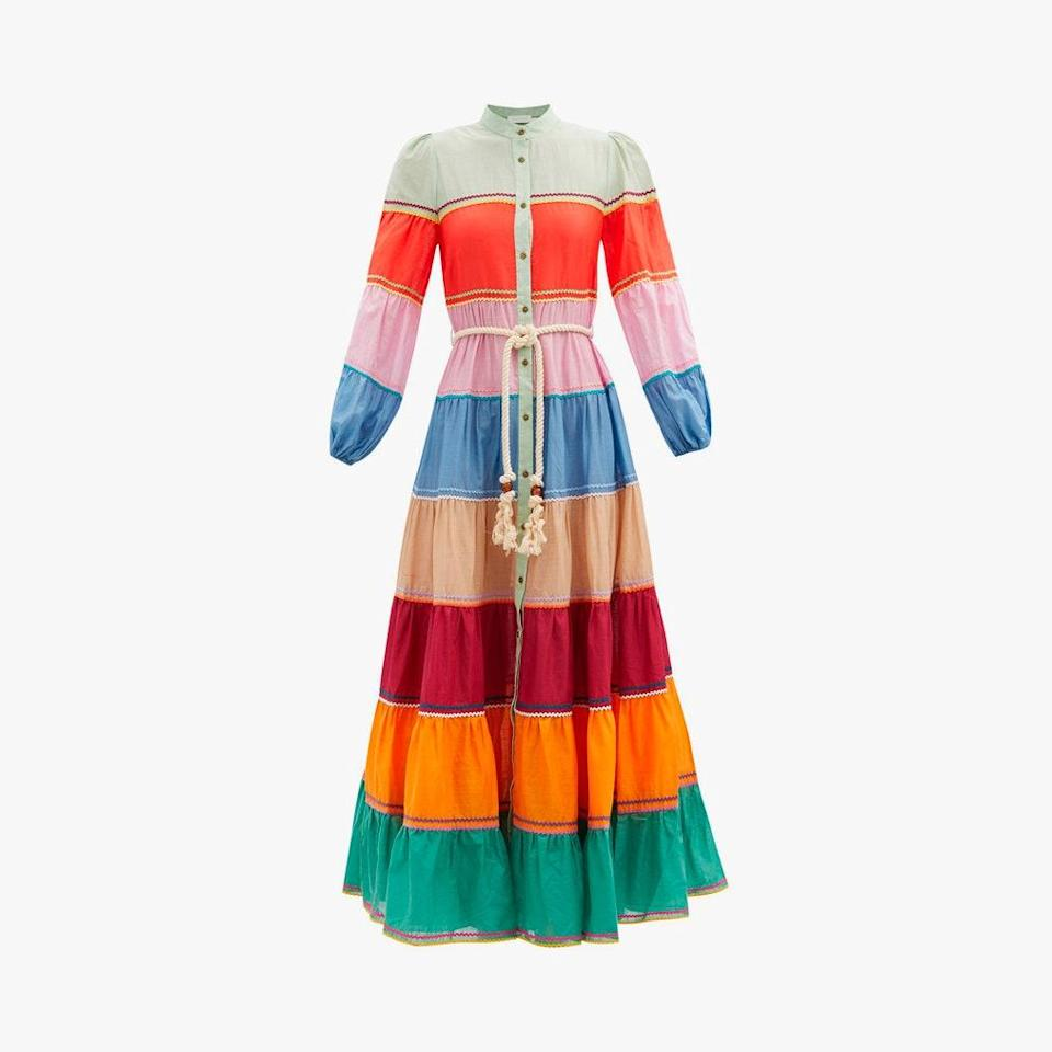 """$850, MATCHESFASHION.COM. <a href=""""https://www.matchesfashion.com/us/products/Zimmermann-Riders-striped-cotton-voile-dress-1391772"""" rel=""""nofollow noopener"""" target=""""_blank"""" data-ylk=""""slk:Get it now!"""" class=""""link rapid-noclick-resp"""">Get it now!</a>"""