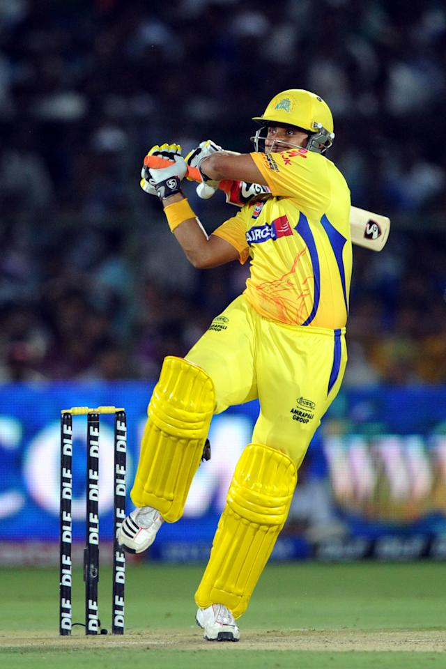 Chennai Super Kings batsman Suresh Raina plays a shot during a IPL match between Rajasthan Royals and Chennai Super King at Swai Mansingh stadium in Jaipur on May 10, 2012. RESTRICTED TO EDITORIAL USE. MOBILE USE WITHIN NEWS PACKAGE  AFP photo/Prakash Singh RESTRICTED TO EDITORIAL USE. MOBILE USE WITHIN NEWS PACKAGE        (Photo credit should read PRAKASH SINGH/AFP/GettyImages)