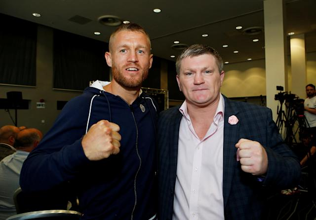 Boxing - Terry Flanagan & Maurice Hooker Press Conference - Crowne Plaza, Manchester, Britain - June 7, 2018 Ricky Hatton and Terry Flanagan pose before the press conference Action Images via Reuters/Craig Brough