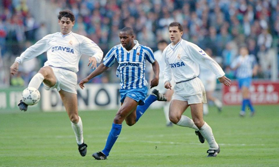 Dalian Atkinson in action for Real Sociedad at Real Madrid in March 1991.