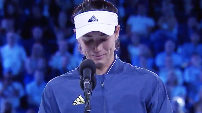 Garbine Muguruza, pictured here fighting back tears in her Australian Open runner-up speech.