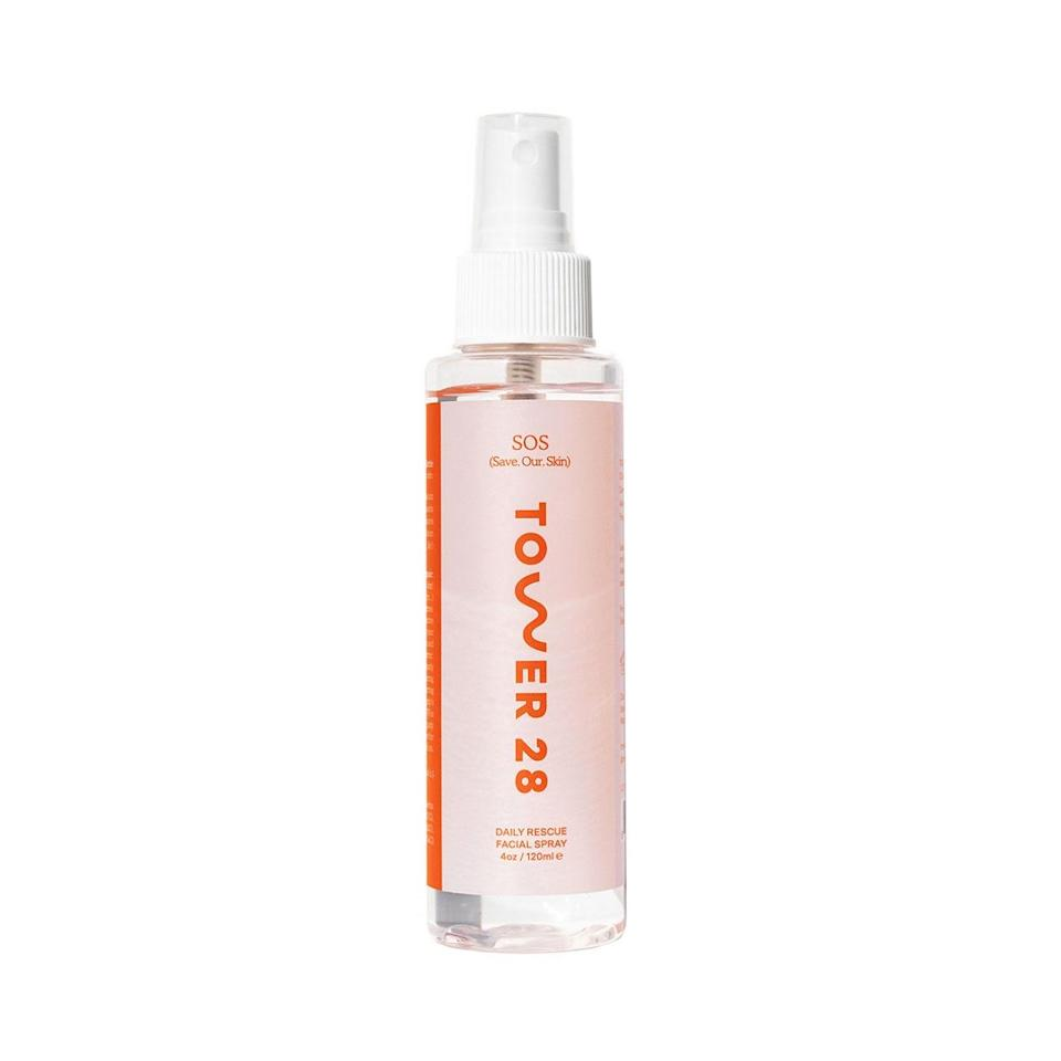 "<p>The Tower 28 Beauty SOS Save.Our.Skin Daily Rescue Facial Spray is a very gentle formula made with saltwater and hypochlorous acid, which calms irritated skin and soothes inflammation. Los Angeles-based makeup artist <a href=""https://www.instagram.com/beautyisboring/?hl=en"" rel=""nofollow noopener"" target=""_blank"" data-ylk=""slk:Robin Black"" class=""link rapid-noclick-resp"">Robin Black</a> like to spritz it on a clean face before applying skin care and makeup. ""It's also great midday as a quick makeup refresh and at night before bed,"" she says.</p> <p><strong>$28</strong> (<a href=""https://shop-links.co/1715604902049573722"" rel=""nofollow noopener"" target=""_blank"" data-ylk=""slk:Shop Now"" class=""link rapid-noclick-resp"">Shop Now</a>)</p>"
