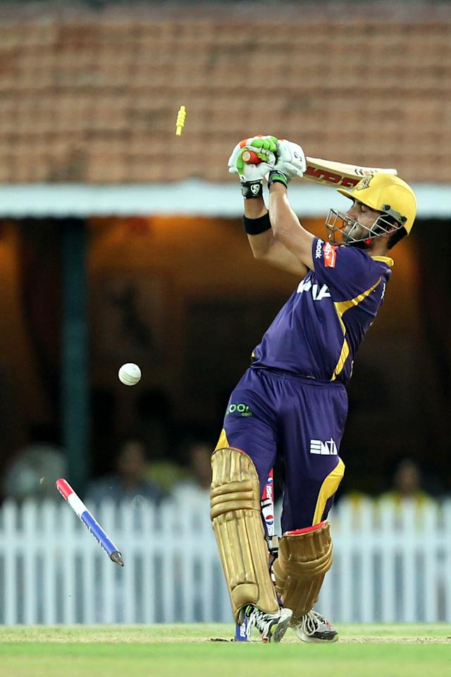 Gautam Gambhir bowled by Christopher Morris during match 38 of the Pepsi Indian Premier League between The Chennai Superkings and the Kolkata Knight Riders held at the MA Chidambaram Stadiumin Chennai on the 28th April 2013 (BCCI)
