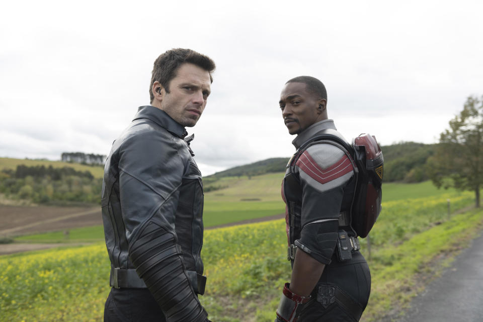 (L-R): Winter Soldier/Bucky Barnes (Sebastian Stan) and Falcon/Sam Wilson (Anthony Mackie) in Marvel Studios' THE FALCON AND THE WINTER SOLDIER exclusively on Disney+. Photo by Julie Vrabelová. ©Marvel Studios 2021. All Rights Reserved.